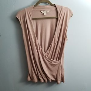 Mauve Colored Sleeveless Pleated Wrap Blouse